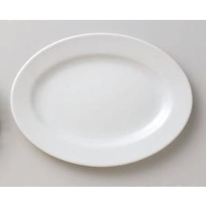 中華定番アイテム・白無地の小判皿 渕有 外寸21.0cm×15.0cm×高さ2.1cm