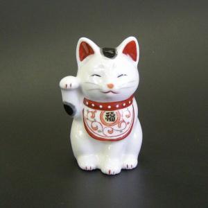 招き猫 陶彩万福唐草(右手上げ・小) utuwayaissin