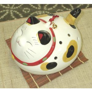 蚊取り線香入れ(蚊遣り器)幸せこいこい猫 平型|utuwayaissin