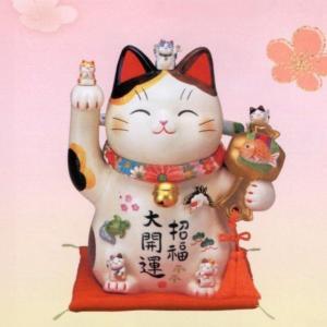 彩絵招福大開運招き猫(ちりめん首輪付)8.5号|utuwayaissin