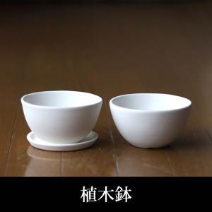 白い陶器の植木鉢(つやなし、マットタイプ) / ボールタイプ|utyu