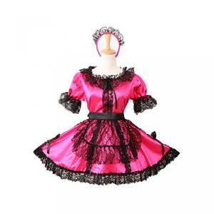 ハロウィン コスプレ 輸入品 Gocebaby Sissy Maid Locking Rose Red Satin Dress Uniform Costume|uujiteki