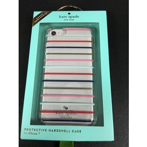 iPhone 7 ケース ケイトスペード 輸入品 Kate Spade Clear pink blue Gold Stripes Case uujiteki