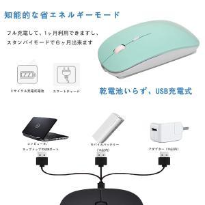 ワイヤレスマウス 静音充電式 usb コードレス マウス無線 コンパクト超薄型2.4GHz 3DPI...