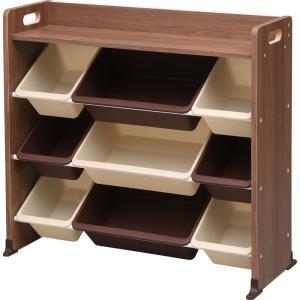 アイリスオーヤマ おもちゃ箱 ブラウン 幅86.3×奥行34.8×高さ79.5cm 天板付キッズトイ...