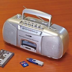 ポータブルラジカセ「デジカ」 簡単操作 カセット プレーヤー USB SD 再生 録音 CR-999...
