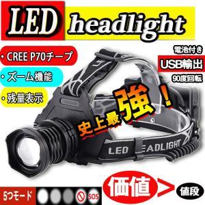 LEDヘッドライト 史上最強ルーメン 最高輝度 充電式 残量表示 伸縮ズーム 5段階の点灯モード USB輸出 登山 夜釣り アウトドア作業 SOS|uuu-shop