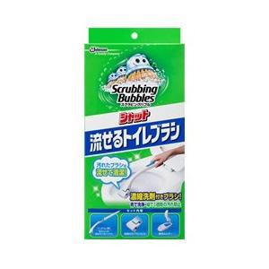 スクラビングバブル シャット流せるトイレブラシ本体+替え4個/ スクラビングバブル 洗浄剤 トイレ用|v-drug