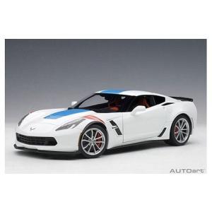 シボレー コルベット (C7) グランスポーツ ホワイト/ブルーストライプ ※レッドハッシュマーク (1/18 オートアート71271)|v-toys