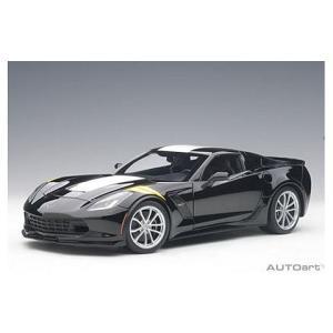 シボレー コルベット (C7) グランスポーツ ブラック/ホワイトストライプ ※イエローハッシュマーク(1/18 オートアート71273)|v-toys