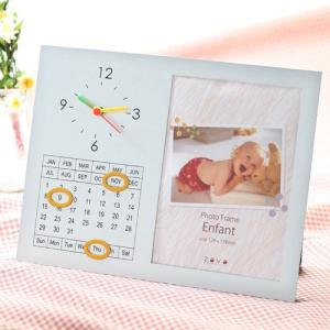 アウトレット 在庫限り 万丈 2L判 時計付き写真立て Enfant アンファン ENF-2L-SL|v-vanjoh