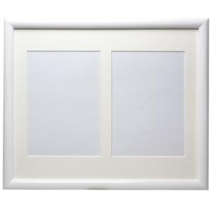 子供の写真、女性の写真に最適な「木製Vホワイトフレーム」2L判2窓マット付き|v-vanjoh