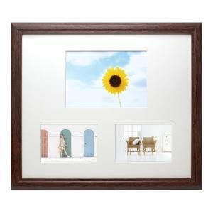 L/2L 写真立て・壁掛けフォトフレーム・額縁 木製 VMブラウンフレーム 3窓 マット1枚付き(Lサイズ2窓/2Lサイズ1窓)|v-vanjoh