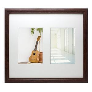 2L 写真立て・壁掛けフォトフレーム・額縁 木製 VMブラウンフレーム 2窓 マット1枚付き(2Lサイズ2窓)|v-vanjoh