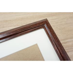 A4 写真立て・壁掛けフォトフレーム・額縁 木製 VMブラウンフレーム マット1枚付き(A4サイズ対応)|v-vanjoh|02