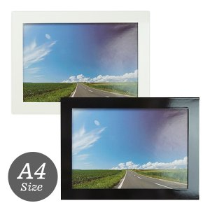 A4判 写真立て・壁掛けフォトフレーム・額縁 木製 クリスタルフレーム A4 ホワイト/ブラック 万丈|v-vanjoh