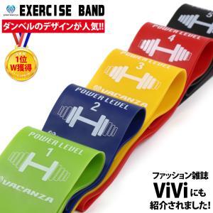 【VACANZA エクササイズバンド 強度別5本セット 収納袋付】 LEVEL1(緑:弱い)→LEV...