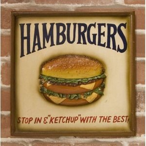 壁掛け ハンバーガー アンティーク ボード レストラン アメリカン バンズ パテ ハワイアン  看板 カフェお店 ルート66 キッチンインテリア|vacationclub