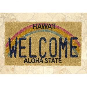 玄関マット ハワイアン アメリカン マット 生地 床マット コイヤーマット レクト ウエルカム HAWAII USA 西海岸 テラス エントランス フロア|vacationclub
