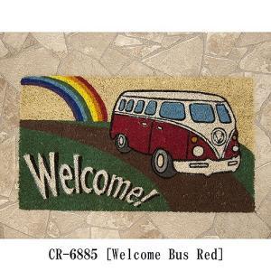 ハワイアン アメリカン マット 生地 床マット コイヤーマット レクト Welcome Bus Red バス USA テラス エントランス フロア|vacationclub