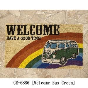 ハワイアン アメリカン マット 生地 床マット コイヤーマット レクト Welcome Bus Green バス USA テラス エントランス|vacationclub