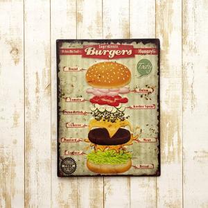 看板 ハンバーガー パテ アメリカン雑貨 エンボスプレート ハワイアン リゾート Burgers アイアン サインボード|vacationclub