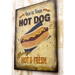 ホットドッグ カフェ パテ エンボスプレート 看板 Hot Dog 西海岸 ハワイアン リゾート エンボス 看板 壁掛け|vacationclub