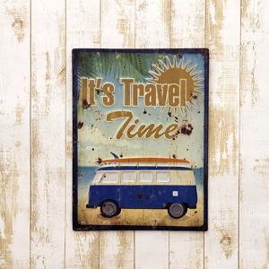 ハワイアン 西海岸 ワーゲン バス 車 アメリカン雑貨 It's Travel Timeエンボスプレート|vacationclub