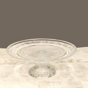 クリアー Lサイズ コンポート ガラス プレート ブライダル  シャルマングラス  装飾 小物置き スタンド ガラススタンド|vacationclub