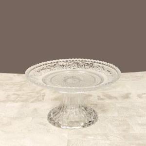 ウエディング ブライダル ケーキスタンド ガラス 装飾 洋風 シャルマングラス クリアー Sサイズ ...