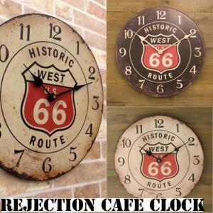 レジェクション カフェ クロック ルート66 壁掛け 時計 オールディーズ ウォールクロック ホール用品 vacationclub
