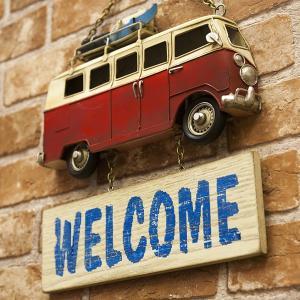 ワーゲン サーフボード 壁掛け 西海岸 レッドバス サーフ プラッケ 壁掛け ウェルカムプレート ビ...