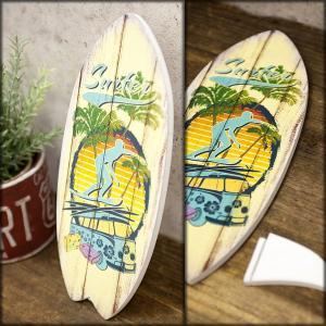 サーフ雑貨 サーフボード ヤシの木 パーム ハワイアン雑貨 壁掛け 立掛け スタンド ハワイ ウッドボード ビーチウォールサイン 南国|vacationclub