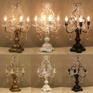 テーブルランプ 4灯 シャンデリア スタンドランプ 照明  ガラスビーズ ランプ ヨーロピアン オリエンタル|vacationclub