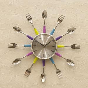 壁掛け デザイン 時計 POP ウォールクロック モダン スプーン&フォーク パステル ホール用品 レストラン 玄関 カフェ vacationclub