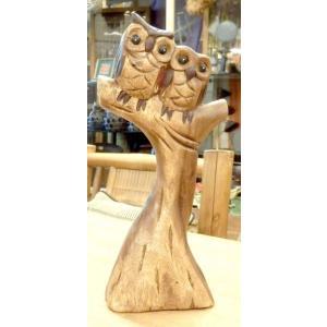 ふくろう置物 フクロウ木像 彫刻 手彫り フクロウの置物 インテリア ナチュラル高原リゾートアジアン...