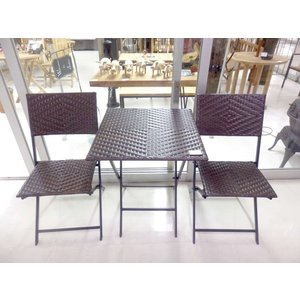 折り畳み式 スクエア テーブル チェア ラタン 3点セット人口ラタン おしゃれ リゾート|vacationclub
