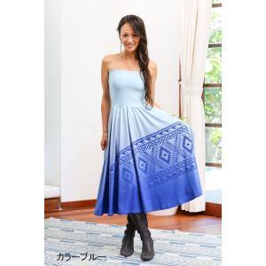ハワイアンドレス PUKANA ロングワンピ ベアトップ ワンピース フラ 衣装 マキシスカート|vacationclub