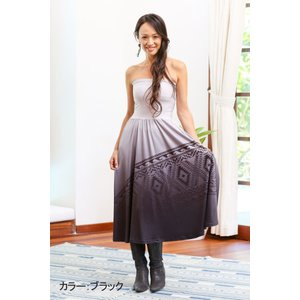 ハワイアンドレス PUKANA ロングワンピ ベアトップ ワンピース フラ 衣装 マキシスカート|vacationclub|02