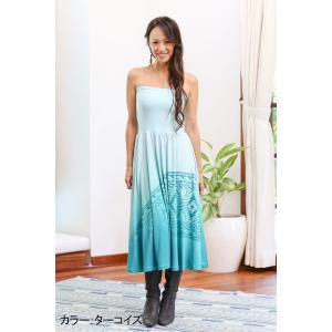 ハワイアンドレス PUKANA ロングワンピ ベアトップ ワンピース フラ 衣装 マキシスカート|vacationclub|03