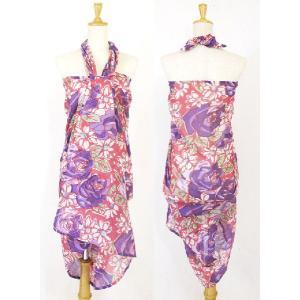 パレオ 大判 水着 の上に タヒチアンダンス ビッグローズ 花柄 インド綿 水着 の上に 大柄 タヒチアン|vacationclub