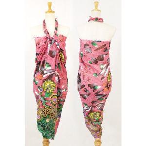 パレオ 大判 水着 の上に タヒチアンダンス 南国 トロピカル 花柄 インド綿|vacationclub