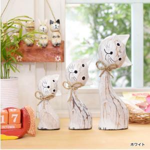 ねこ 木彫り 猫 置物 はてな かわいい 玄関 木像 インテリア アンティーク 店舗アジアン雑貨  ...