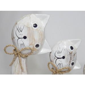 ねこ 木彫り 猫 置物 はてな かわいい 玄関 木像 インテリア アンティーク 店舗 vacationclub 03