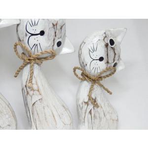 ねこ 木彫り 猫 置物 はてな かわいい 玄関 木像 インテリア アンティーク 店舗 vacationclub 04