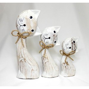 ねこ 木彫り 猫 置物 はてな かわいい 玄関 木像 インテリア アンティーク 店舗 vacationclub 05