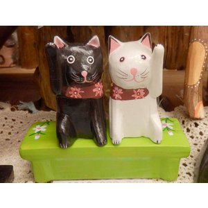 招き猫 置物 おしゃれ 風水 かわいい 木彫り 木像 インテリア アンティーク 店舗|vacationclub