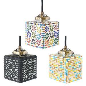 モザイク ハンギングランプ スクエア アジアン サロン 照明 ランプ|vacationclub