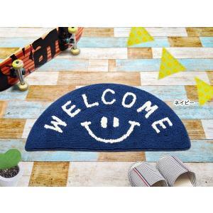 スマイル ウェルカム マット スマイリー グッツ ネイビー セミ ラウンド 西海岸 床マット インテリア フロアマット|vacationclub