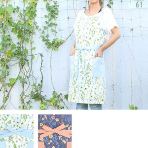 草木柄 エプロン コットン ガーデニング 花柄 おしゃれ 母の日 かわいい|vacationclub